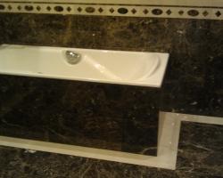 Подиум для ванны и пол мрамор Имперадор дарк