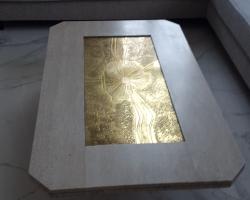 Стол с основанием<br>материал Травертин лайт<br>обработка антик